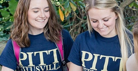 Students wearing Pitt Titusville shirts